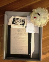 Image of Letter - Letter from L. Herreshoff to Katharine Pardee.  Menu, receipts, and paper doll place cards from Jill DeWolf Wedding 1923.  Decorative Hat Pincushion.  Photos of children at a party.
