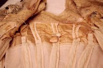 Image of Pink Gown with Raffia Trim, sachet, inside bodice