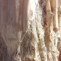Image of Two-piece dress, lace and satin, skirt detail.