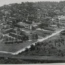 Image of 1330 - Havre de Grace High School - aerial view and gymnasium construction, June 1958