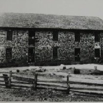 Image of 1292 - Bush Mill (?) - Large 2 story stone mill building with horse drawn wagons
