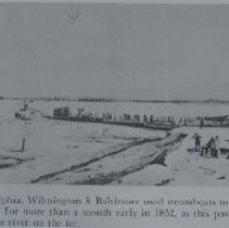 Image of 710 - Susquehanna River - tranporting cars across the ice in 1852.