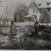 "Image of 555 - ""Rosecrea"" near Darlington; E. Jane Mason pictured with unidentified gardener; ca 1800s"