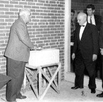 Image of 8911 - Black & white photo of a school dedication