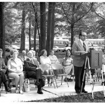 Image of 8976 - Black & white photo of a ground breaking school dedication.
