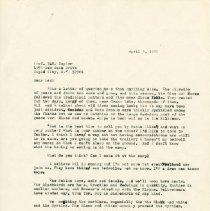 Image of Herbert Krause to Les Baylor, Letter, April 5, 1976