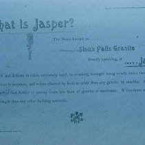 "Image of ""What is Jasper?"" (in Hubbard Stone and Construction Co. pamphlet), n.d."