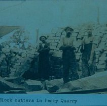 Image of Paving block cutters in Perry Quarry, n.d.