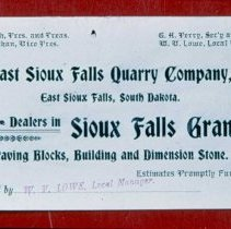 Image of East Sioux Falls Quarry Company granite dealers card, n.d.