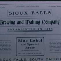 Image of Sioux Falls Brewery and Malting Company ad, n.d.