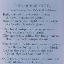 """Image of """"The Queen City"""" by E. C. Johnson from Picturesque Sioux Falls, 1898"""