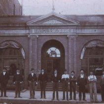 Image of Men outside the Argus Leader Building, ca. 1900
