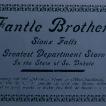 Image of Fantle Brothers Department Store ad, 1905