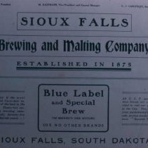 Image of Sioux Falls Brewing and Malting Company ad, 1905