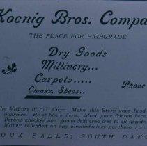 Image of Koenig Brothers Company ad, 1905