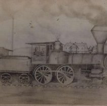 Image of Depiction of Chicago, St. Paul, Minneapolis, and Omaha locomotive, 1878