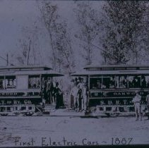 Image of First electric cars of Sioux Falls Rapid Transit, 1887