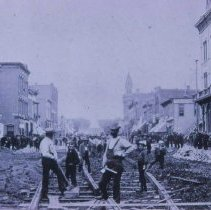 Image of Laying track for the street railroad, 1887