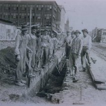 Image of Street excavation for curbing on Phillips Ave., ca. after 1912