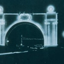 Image of Lighted arch on Phillips Ave. honoring World War I servicemen, ca. 1919