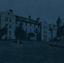Image of Ladies Hall and Old Main at Augustana College, ca. 1927