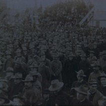 Image of 1st SD Reg. listening to Pres. McKinley's welcome address, Aberdeen, 1900
