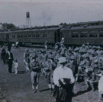 Image of Troop train leaving for Camp Cody, 1917
