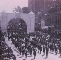 Image of Army band parading with military returning from World War I, 1917