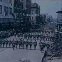 Image of 147th Field Artillery marching on north Phillips Avenue, May 21, 1919
