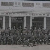 Image of Sioux Falls Home Guard in front of Coliseum, ca. 1917-1918