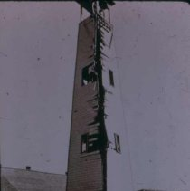 Image of Tower at 9th and Main struck by lightning, n.d.