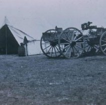 Image of Tent and wagon at Scotty Phillips Ranch near Fort Pierre, SD, n.d.