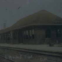 Image of Chicago, Milwaukee, and St. Paul depot in Canton, SD, ca. 1907-1909