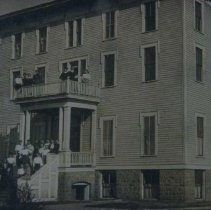 Image of Group outside dormitory of Augustana College in Canton, SD, ca. 1907-1909