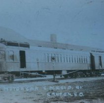 Image of Chicago, Milwaukee, and St. Paul diesel locomotive by Canton, SD, ca. 1913