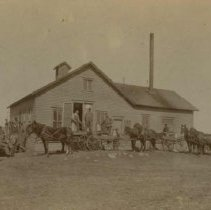 Image of People outside first Taopi Creamery Company building in Colton, SD, 1897