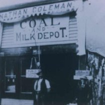 Image of Nathan Colman and Nathan Coleman Coal and Milk Depot in Beaver, SD, n.d.