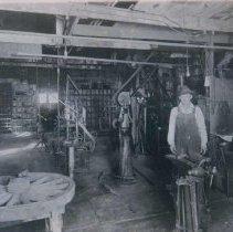 Image of Interior of blacksmith shop in Bison, SD, n.d.