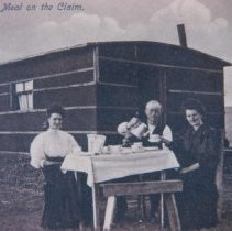 Image of Youngs and Molley having an evening meal 75 miles south of Lemmon, SD, 1905