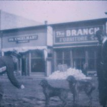 Image of Men and dogs on east side of Main Street in Waubay, SD, n.d.