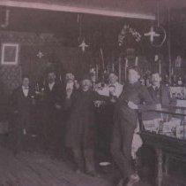 Image of Group of men inside Dan DeVaney's Saloon in Waubay, SD, n.d.