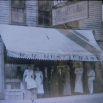 Image of Group outside the Railroad Restaurant in Waubay, SD, n.d.