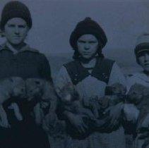 Image of Winnie, Merle, Bernice Speers at Coyote School near White Owl, April 1918