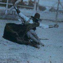 Image of Cowboy bull dogging, ca. 1917