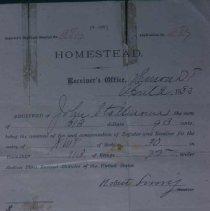 Image of Dakota Territory homestead receipt, 1883