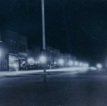 Image of 3rd Street at night (looking north) in Beresford, SD, 1926