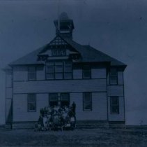 """Image of """"New"""" schoolhouse and annex built in 1899 in Hartford, SD, ca. 1900"""