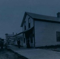 Image of Dr. L. Harm (in buggy) outside his office in Hartford, SD, ca. 1900