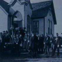 Image of Civil War veteran's funeral, Old Methodist Episcopal Church, Hartford, n.d.