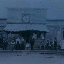 Image of People outside Frank Gillen Store, Willig Meat Market in Hartford, SD, n.d.